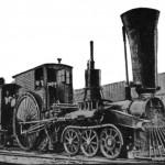 Locomotiva con grande ruote e grande camino