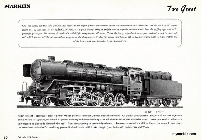 Estratto del catalogo del 1950 che presenta per la prima volta la G800